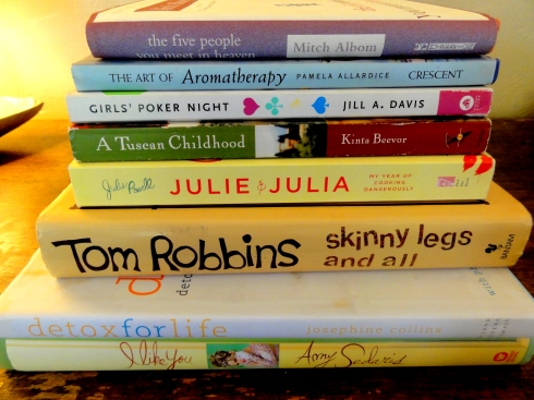 book giveaway Julia & Julia, girl's poker night, tom robbins skinny legs and all, I like you amy sedaris, a tuscan childhood, aromatherapy, tuesdays with morrie mitch albom the five people you meet in heaven